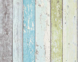 A.S. Création Wallpaper «Wood, Cottage, Blue, Green, White» 855077