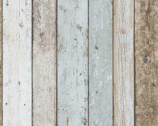 A.S. Création papier peint «Bois, Maison, beige, bleu, marron» 899927