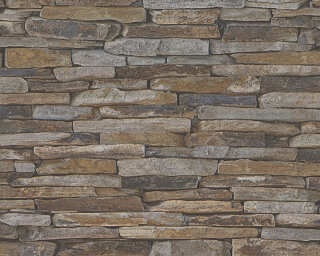 A.S. Création Wallpaper «Stone, Cottage, Beige, Brown, Yellow» 914217