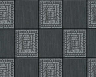 A.S. Création Wallpaper «Tile, Black, Grey, Metallic» 934892