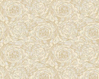 Versace Home Wallpaper «Flowers, Beige, Cream, Gold, Metallic» 935831