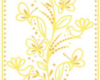 Livingwalls panneau «Graphique, Floral, blanc, jaune, orange» 942282