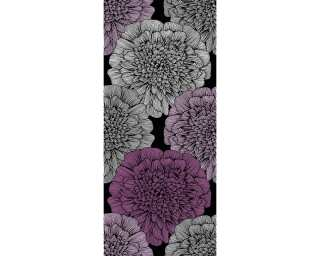 Livingwalls Designpanel «Floral, Metallics, Schwarz, Violett» 942481