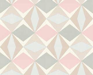 A.S. Création papier peint «Graphique, beige, gris, rose» 957664
