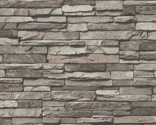 A.S. Création Wallpaper «Stone, Cottage, Black, Cream, Grey» 958331