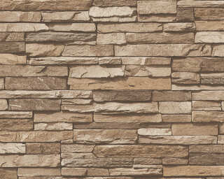 A.S. Création Wallpaper «Stone, Cottage, Beige, Brown» 958332