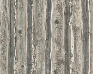 A.S. Création papier peint «Bois, Maison, beige, gris, marron» 958372