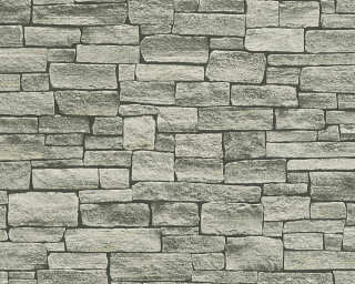 A.S. Création Wallpaper «Stone, Cottage, Beige, Black, Grey» 958712