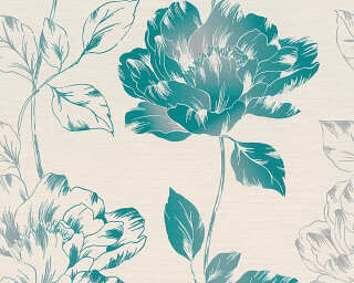 A.S. Création Wallpaper «Floral, Cream, Green, Metallic, Turquoise» 958814