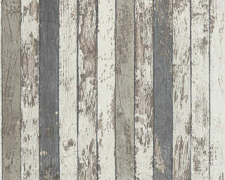 A.S. Création papier peint «Bois, Maison, blanc, gris, marron» 959142