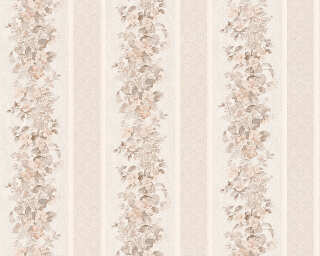 A.S. Création Wallpaper «Stripes, Flowers, Brown, Cream, White» 959292