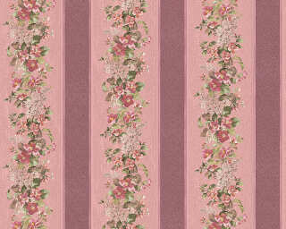 A.S. Création Wallpaper «Stripes, Floral, Metallic, Purple, Red» 959294