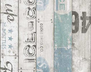 A.S. Création papier peint «Bois, beige, bleu, gris, turquoise» 959503