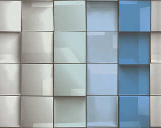 Lutèce Wallpaper «Tile, Blue, Green, Grey, Turquoise» 960201