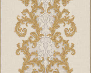 Versace Home Wallpaper «Baroque, Gold, Grey, Metallic, White» 962324