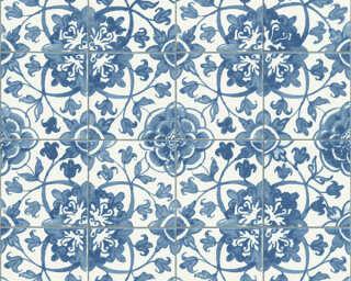 A.S. Création Wallpaper «Tile, Blue, White» 962471