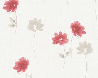 Livingwalls Wallpaper «Floral, Cream, Grey, Red» P468740082