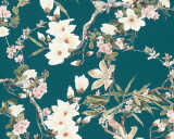 MICHALSKY LIVING Wallpaper «Cottage, Flowers, Beige, Black, Blue, Brown» 364984