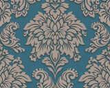 Livingwalls papier peint «Baroque, 3D, argent, beige, bleu, métallique» 368985