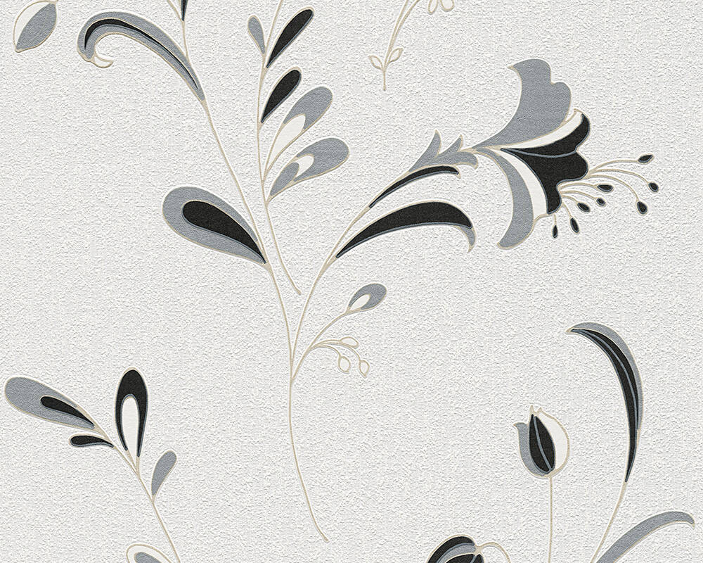 A.S. Création Wallpaper Flowers, Black, Gold, Metallic, Silver 106742