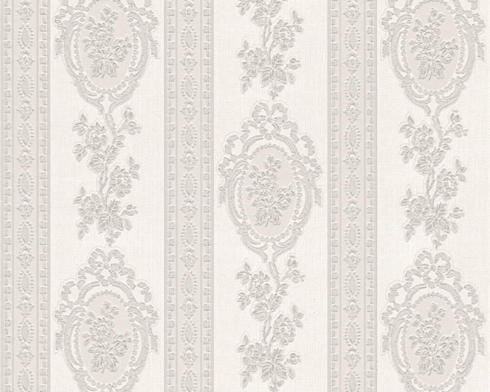 Papier Peint A Rayure Gris Et Blanc a.s. création papier peint «rayures, fleurs, argent, blanc