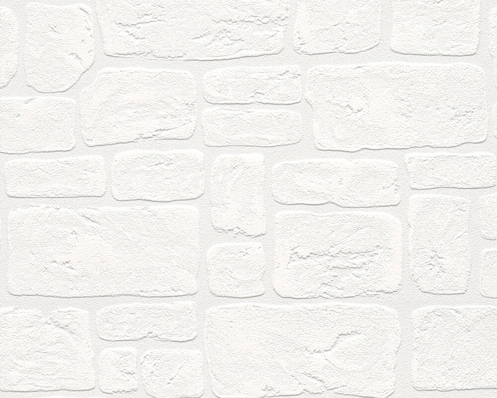 A.S. Création Wallpaper Stone, Cottage, White 204042