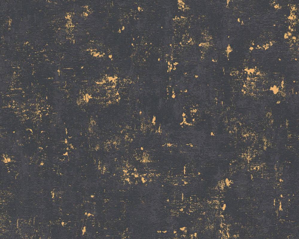 A.S. Création Wallpaper Uni, Black, Gold, Metallic 230782