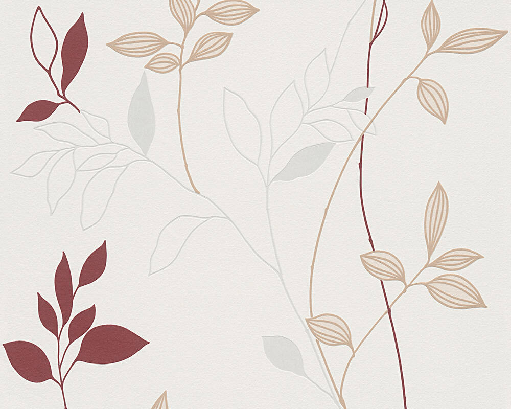 Livingwalls papier peint Floral, crème, rouge 249739