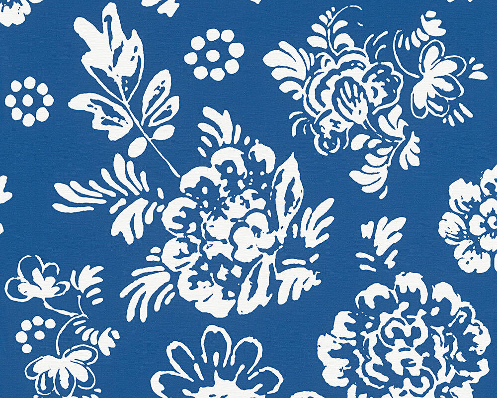 Oilily Wallpaper Cottage Floral Blue White 302721