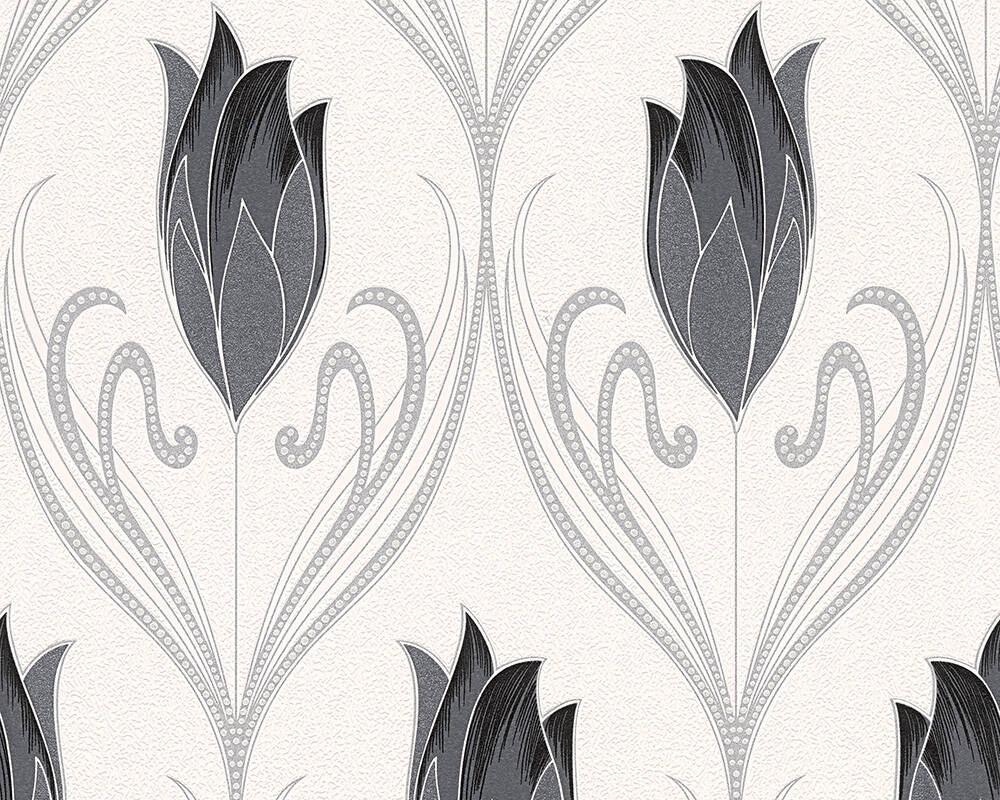 Floral Vinyl-Papiertapete - New Orleans - 303181 - Creme, Schwarz, Metallics