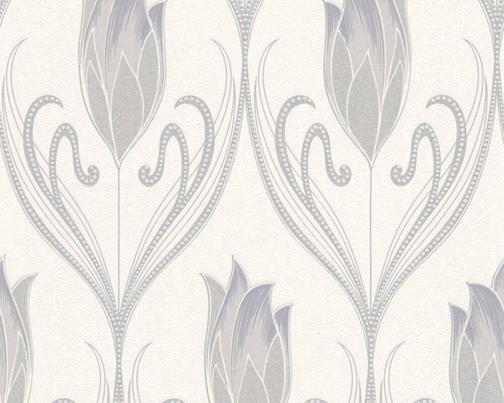 Floral Vinyl-Papiertapete - New Orleans - 303182 - Creme, Grau, Metallics