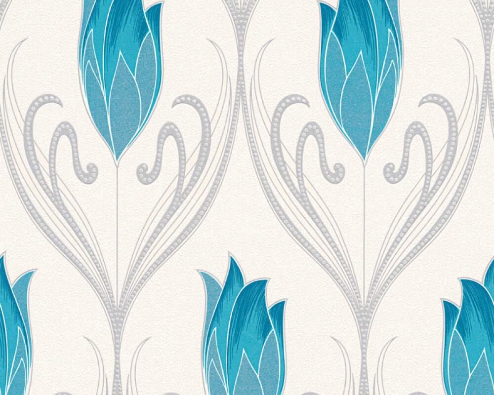 Floral Vinyl-Papiertapete - New Orleans - 303183 - Creme, Grün, Metallics