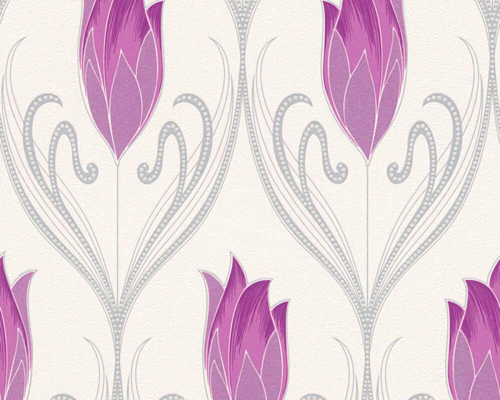 Floral Vinyl-Papiertapete - New Orleans - 303184 - Creme, Metallics, Violett