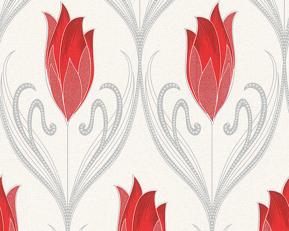 Floral Vinyl-Papiertapete - New Orleans - 303185 - Creme, Metallics, Rot