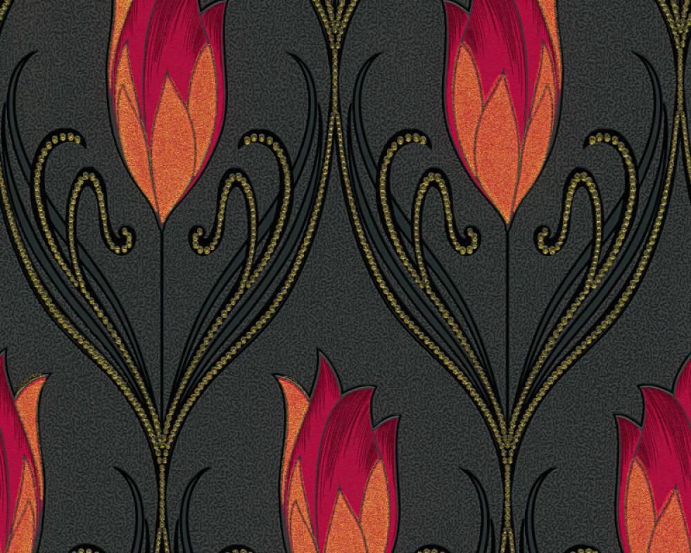 Floral Vinyl-Papiertapete - New Orleans - 303186 - Metallics, Rot, Schwarz