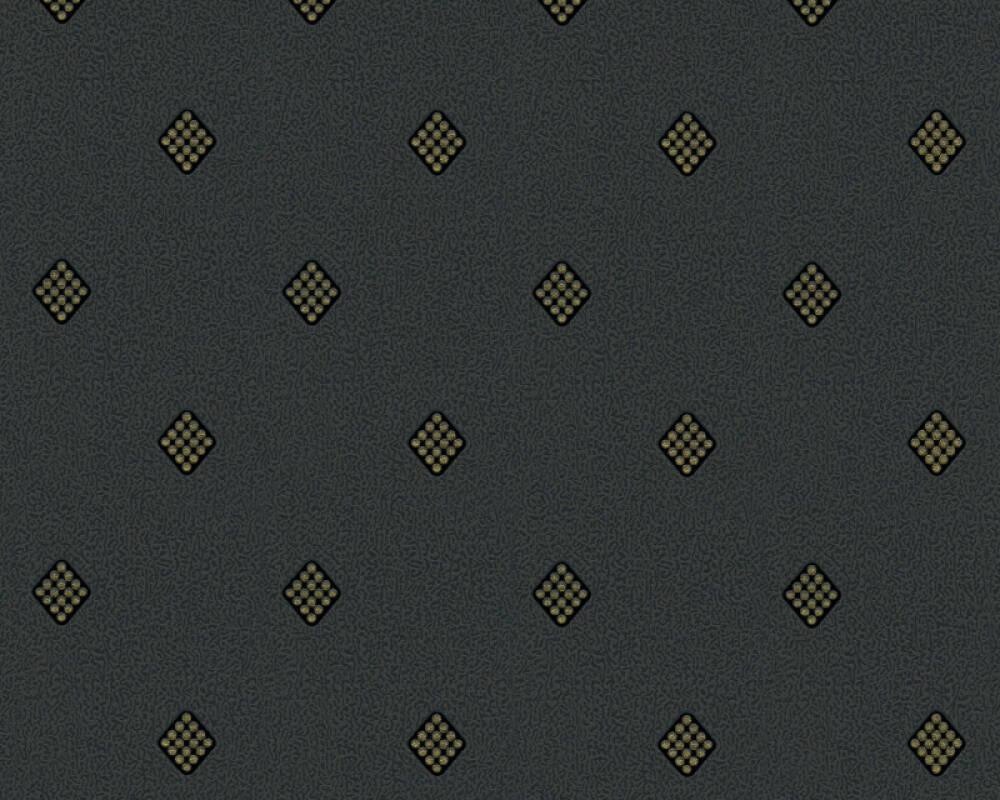 A.S. Création papier peint Uni, métallique, noir, or 303192