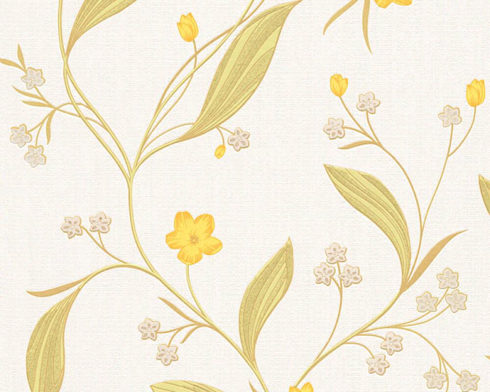 Floral Profil-Vinyltapete - New Orleans - 303932 - Beige, Metallics, Gelb