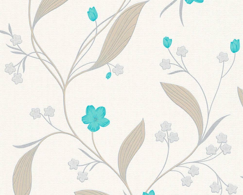 Floral Profil-Vinyltapete - New Orleans - 303933 - Beige, Metallics, Grün