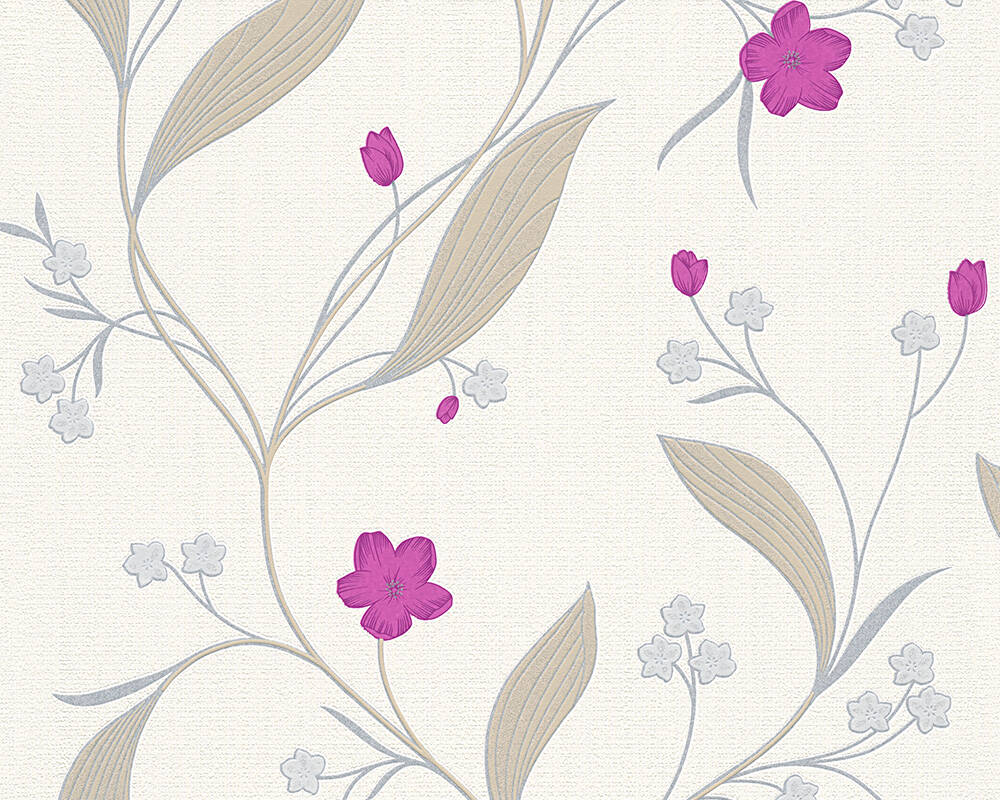 Floral Profil-Vinyltapete - New Orleans - 303934 - Beige, Metallics, Violette