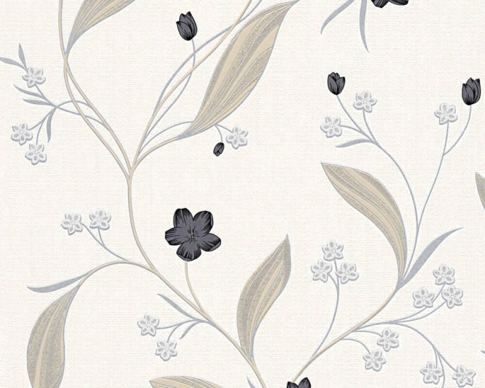 Floral Profil-Vinyltapete - New Orleans - 303935 - Beige, Metallics, Schwarz