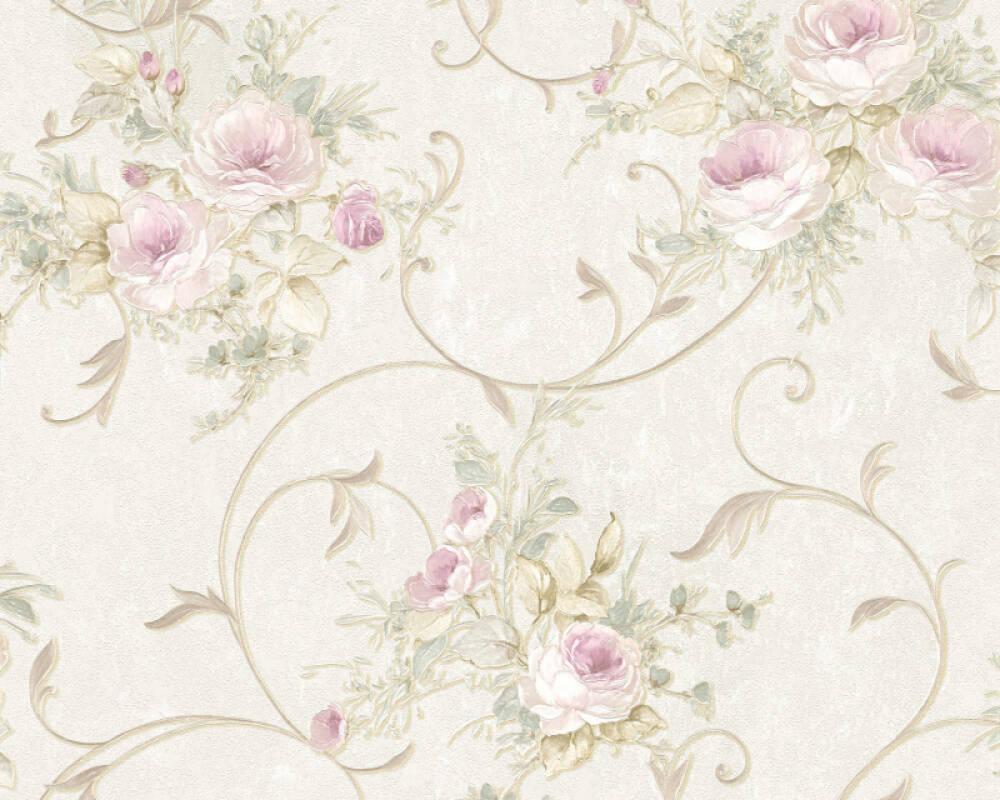 A.S. Création papier peint Fleurs, crème, rose, vert 304202
