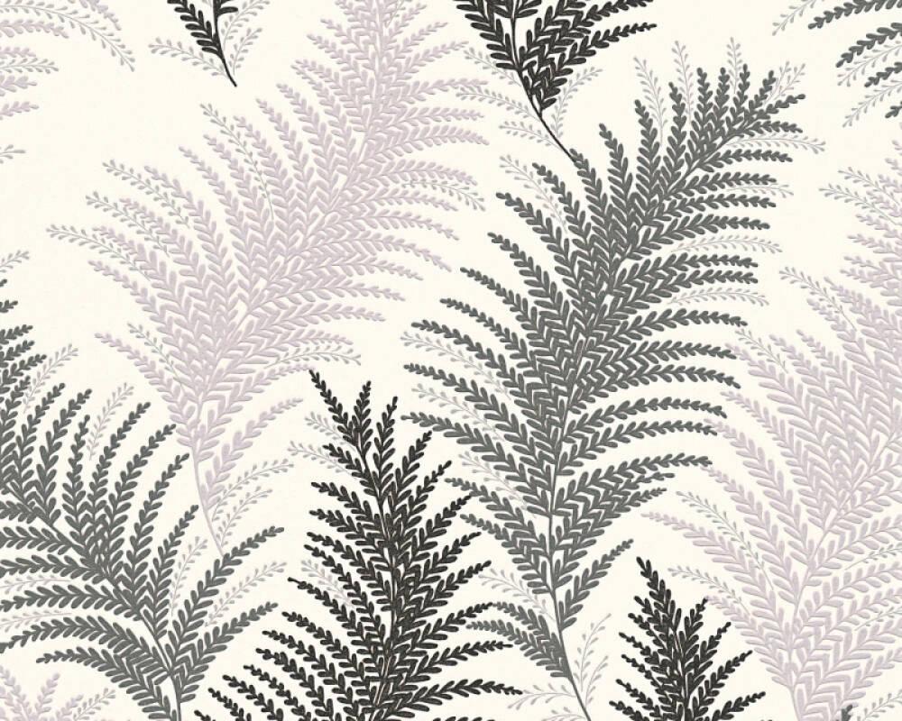 Floral Vinyl-Papiertapete - New Orleans - 305082 30508-2 - Creme, Schwarz