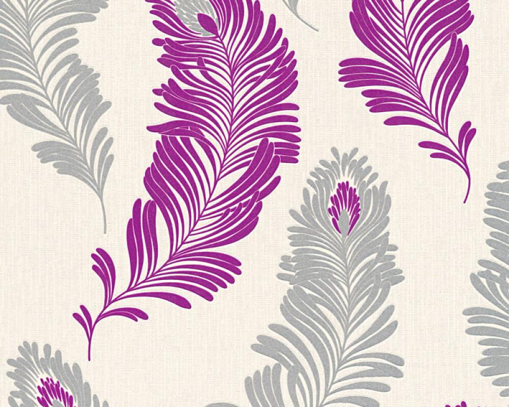 Feder Vinyl-Papiertapete - New Orleans - 305094 30509-4 - Creme, Violett
