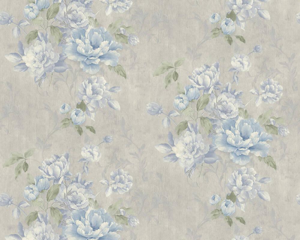ORIGINALS papier peint Floral, bleu, gris, métallique 305653
