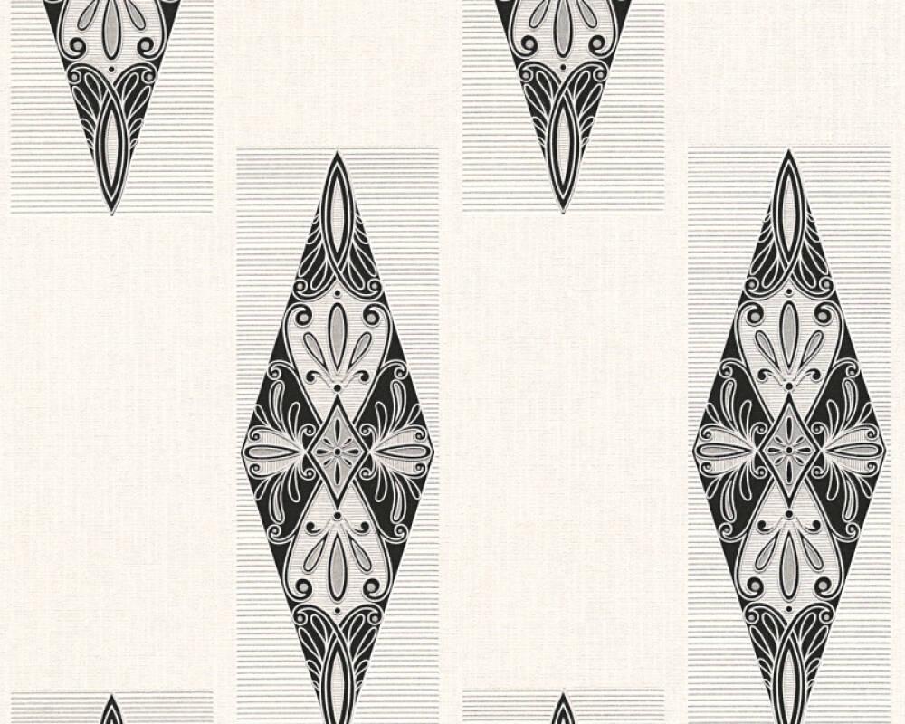 Ethno Vinyl-Papiertapete - New Orleans - 306392 30639-2 - Creme, Schwarz