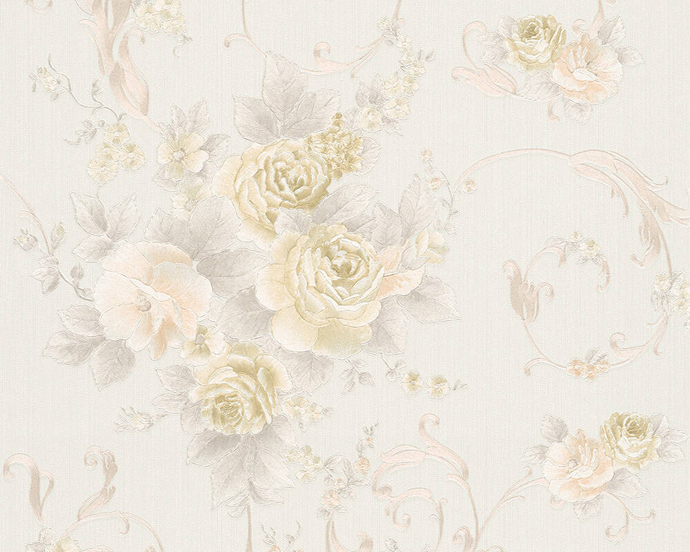 A.S. Création Wallpaper Flowers, Cream, Grey, Pink 306471