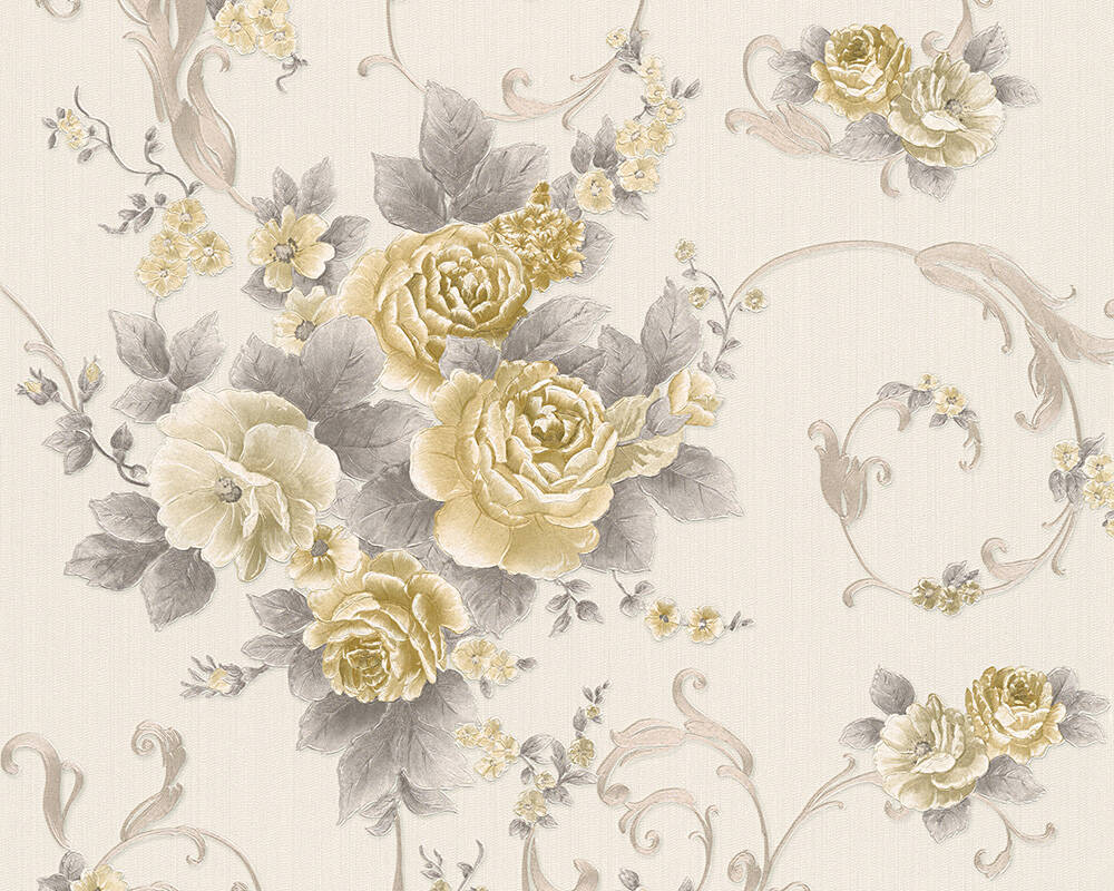 As Creation Wallpaper Flowers Gold Grey Metallic Silver 306474