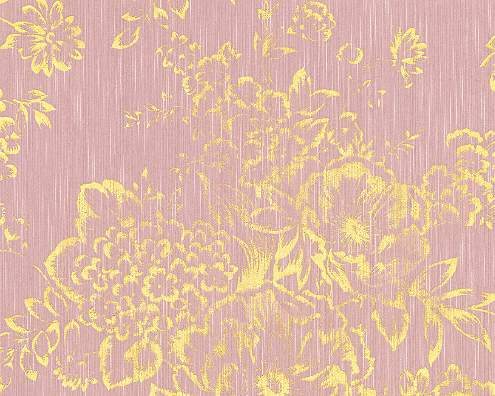 Architects Paper Wallpaper Uni Gold Metallic Pink 306575