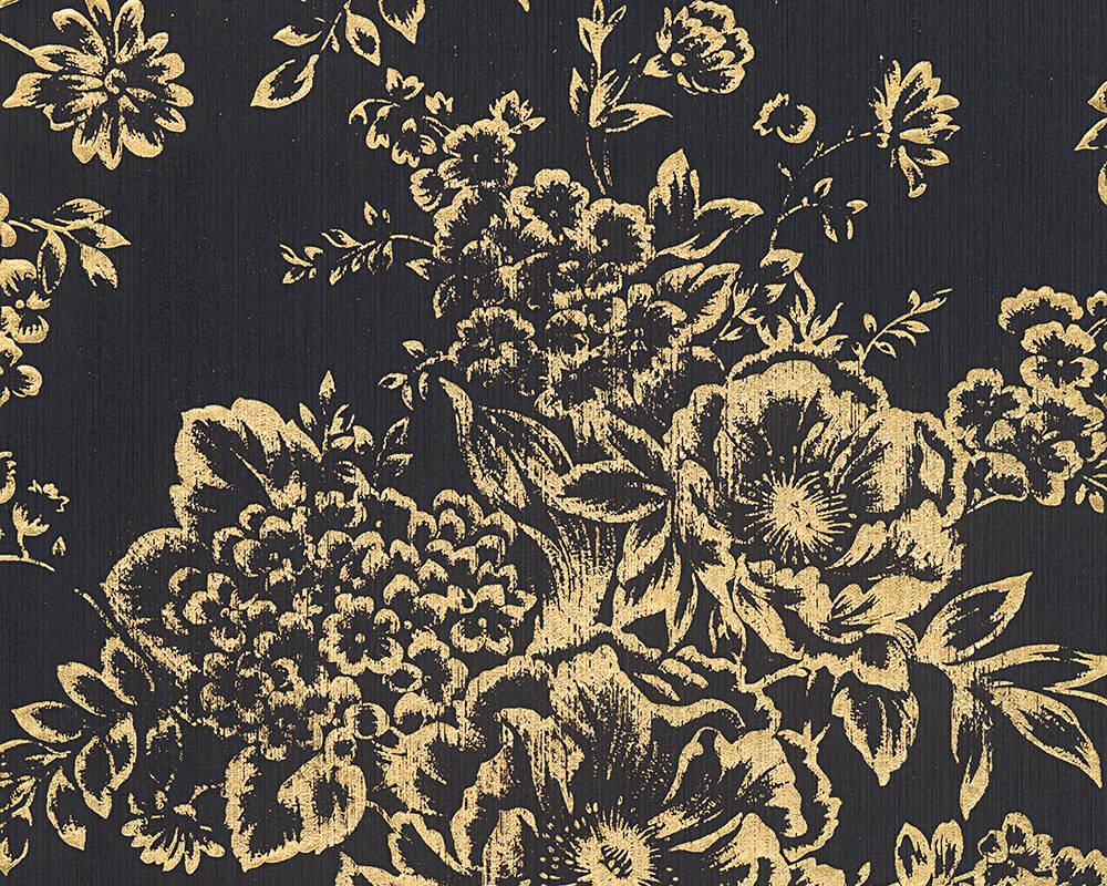 Architects Paper Wallpaper Uni, Black, Gold, Metallic 306577
