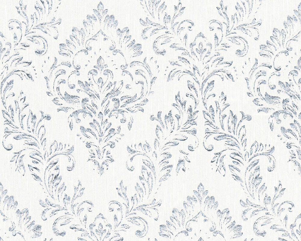 Architects Paper Wallpaper Uni, Metallic, Silver, White 306591